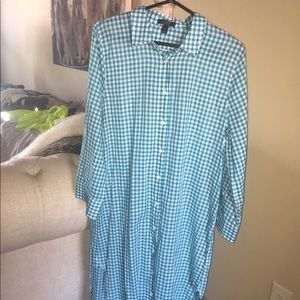 JCREW Turquoise Checked Shirt Dress. Size: M
